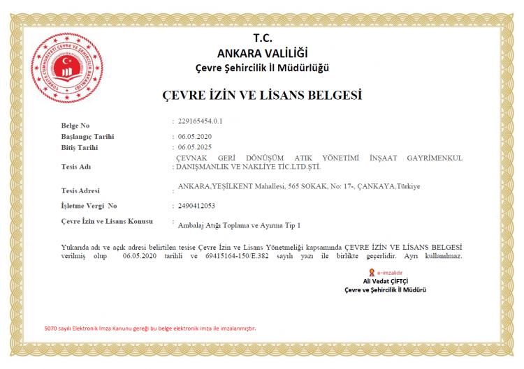 Çevnak - Çevre izin ve lisans belgesi